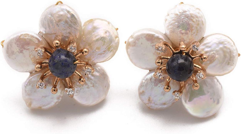 GLSEEVO Original Handmade Natural Fresh Water Pearl Lapis Lazuli Adjustable Cufflinks Bracelet For Women Party Jewelry GB0122