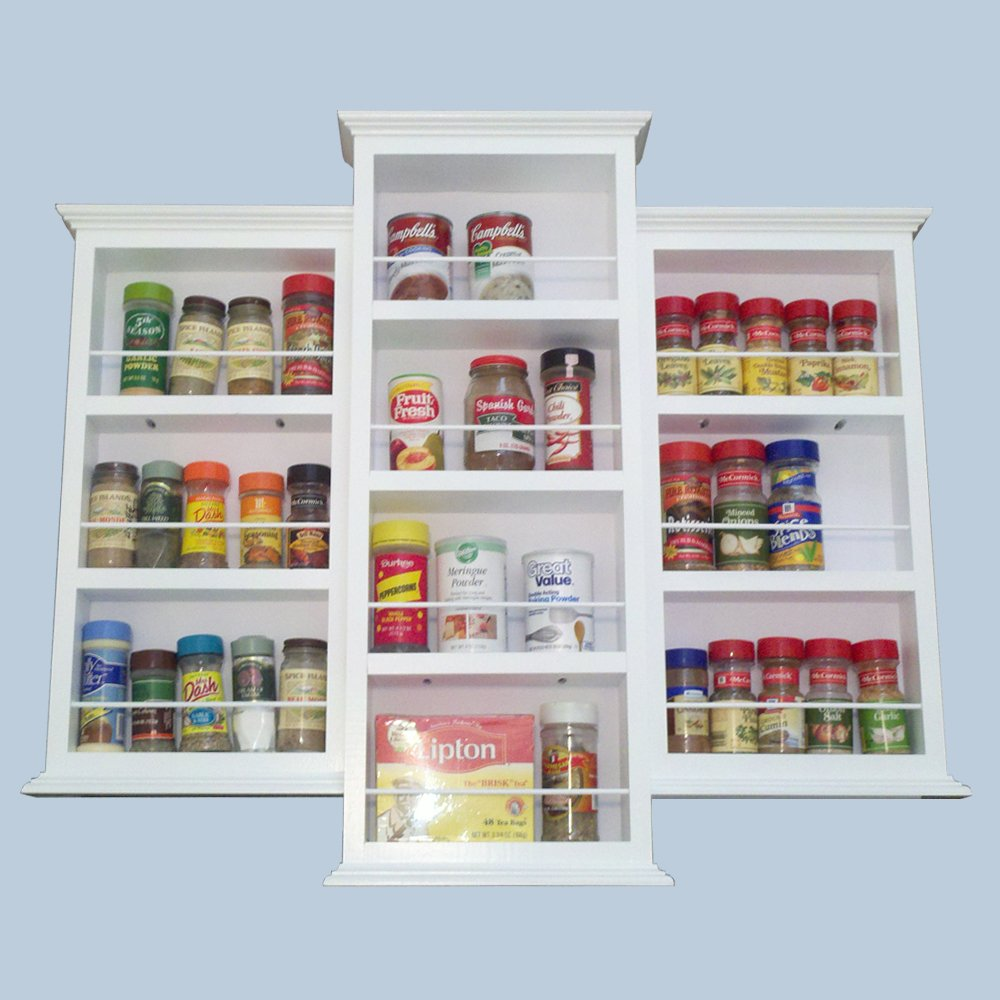 (SR-124) Wall mount or surface mounted 28 inch Kitchen Spice Rack holder, Solid Wood, accommodates multiple size bottles. Enamel finish or stain finish in your color choice, or unfinished also! (DOES NOT GO IN THE WALL) by WG WOOD GROUP