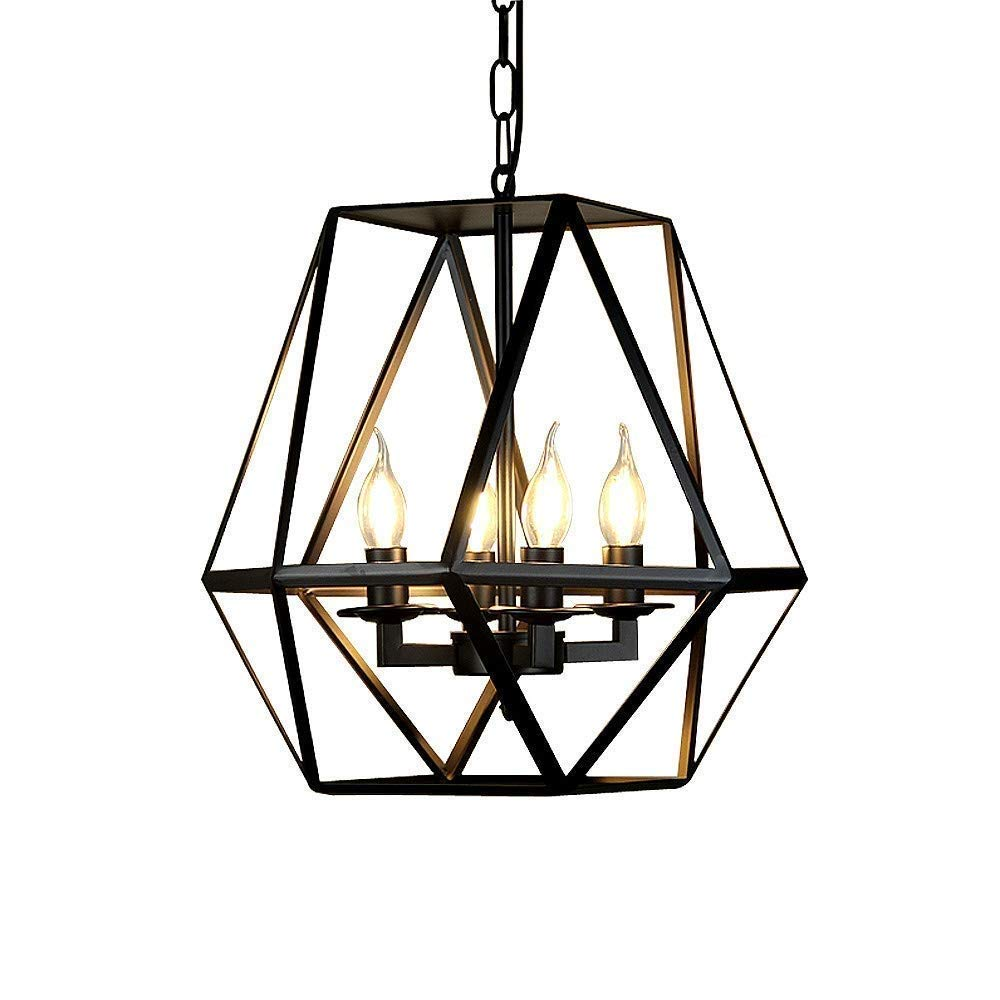 MUTANG 4-Lights Candle Chandeliers Pendant Ceiling Light, Wrought Iron Bird Cage Design Lighting Fixture Vintage Industrial Ceiling Light for Living Room Bedroom