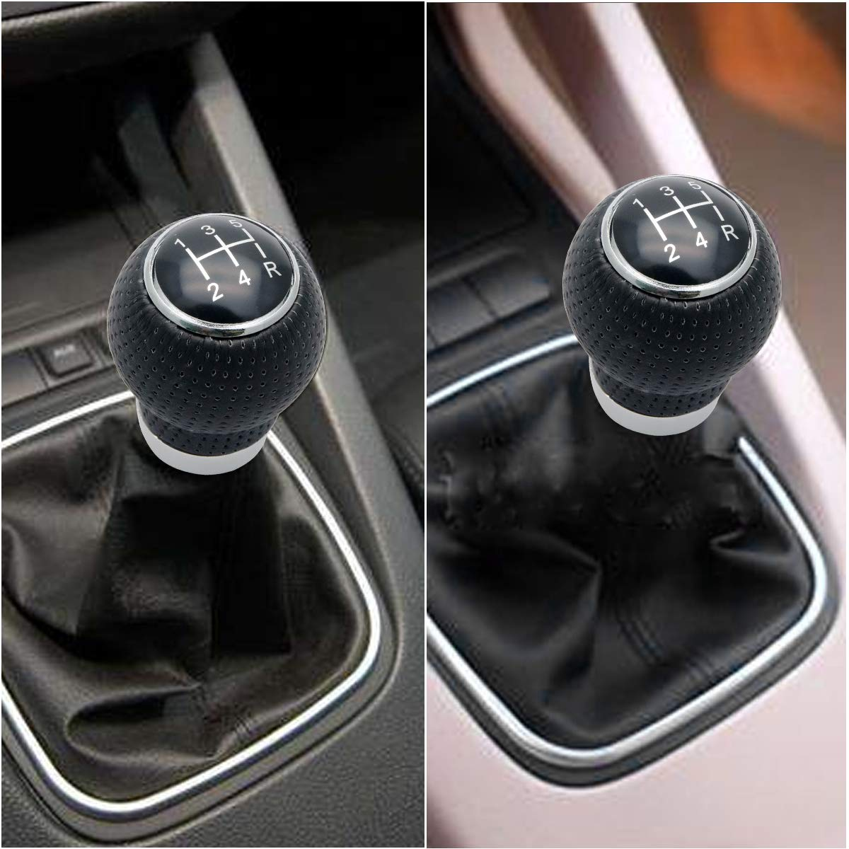 MASO Car Universal 5 Speed Manual Gear Shift Knob Shifter Leather Stick Lever