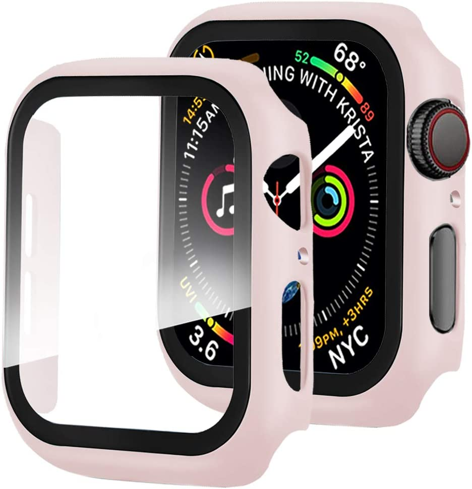 Miimall Compatible with Apple Watch Series 3 2 1 38mm Case with Screen Protector, Anti-Scratch Shockproof Matte Hard Cover and Tempered Glass Screen Protector for Apple Watch 38mm Series 3 2 1 Pink