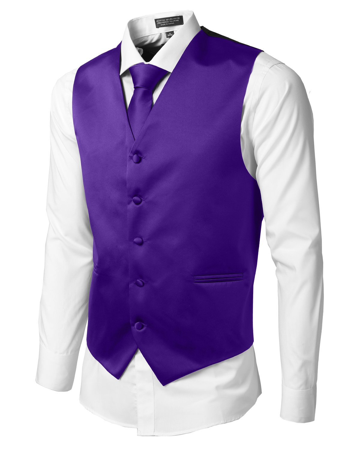 LE3NO Mens Tailored Button Down Vest with Stretch L3NMV158