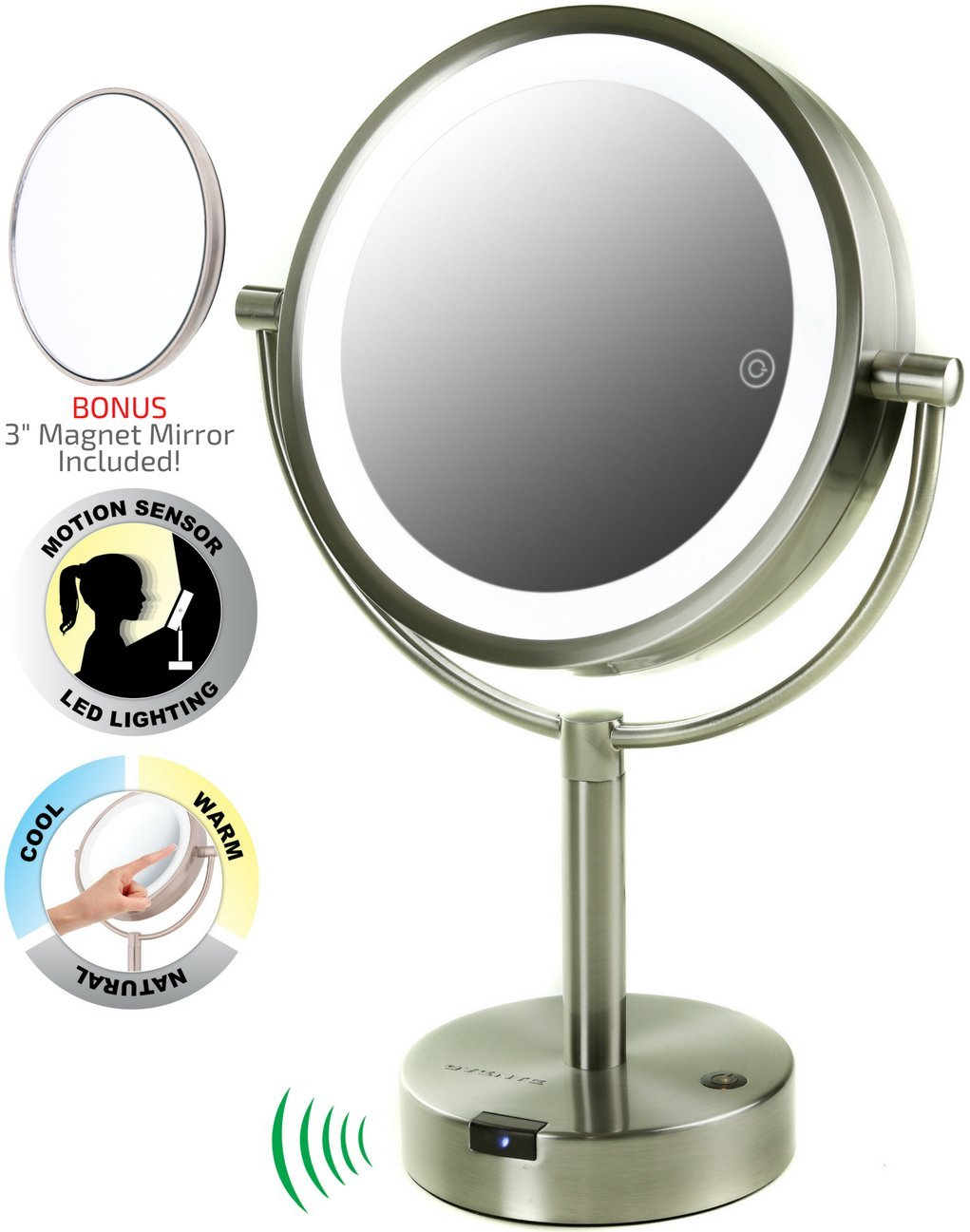 Ovente 360-Degree LED Lighted Tabletop Makeup Mirror with Motion Sensor, 8.5 Inch, Dual-Sided, 1x/5x Magnification, Smart Touch Technology, Nickel Brushed (MPTS8385BR1x5x)
