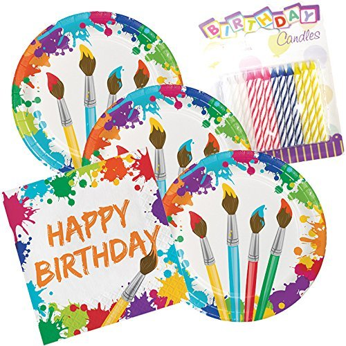 (Art Party Birthday Theme Plates and Napkins Serves 16 with Birthday)
