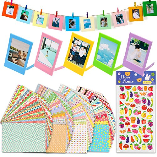 JamBer Colorful Bundle Kit Accessories for Fujifilm Instax Mini 7/7S/8/8+/ 9/25/ /50S/70/90 Camera,Include Pattern Stickers,Sticker Frames,Desk Frames,Hanging Frame with Clips & String