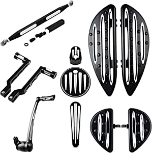 Compatible with 2014-2016 Harley Touring Front Rear Driver Passenger Floorboards + Brake Arm Lever Peg Pedal Shift Heel-Toe Linkage Shifter + Dash Insert Ignition Switch Fuel Door Cover Kit
