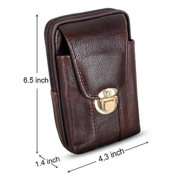 f2d54e87efd7 Leather Men Belt Pouch, Cell Phone Holster Wallet Waist Bag Mini Travel  Messager Pouch (BuckleG)