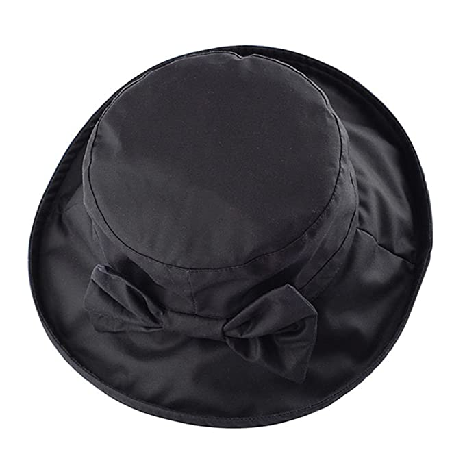WAXED COTTON BOW CANVAS LADIES WIDE BRIM HAT 2e7a0727941a