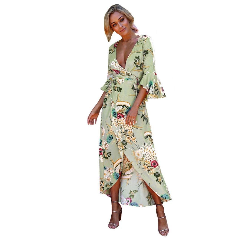 Women Maxi Dress,Boho Floral Empire Skirt Party Evening Tunic Sundress Axchongery (Green, L)