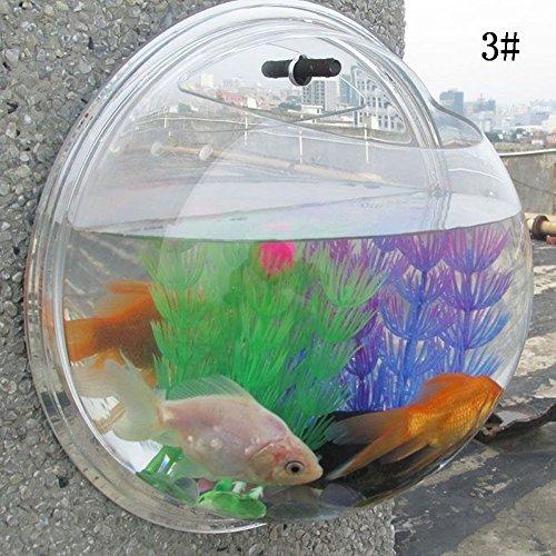 MEXUD Home Decoration Pot Wall Hanging Mount Bubble Aquarium Bowl Fish Tank (1515cm, Mirror)