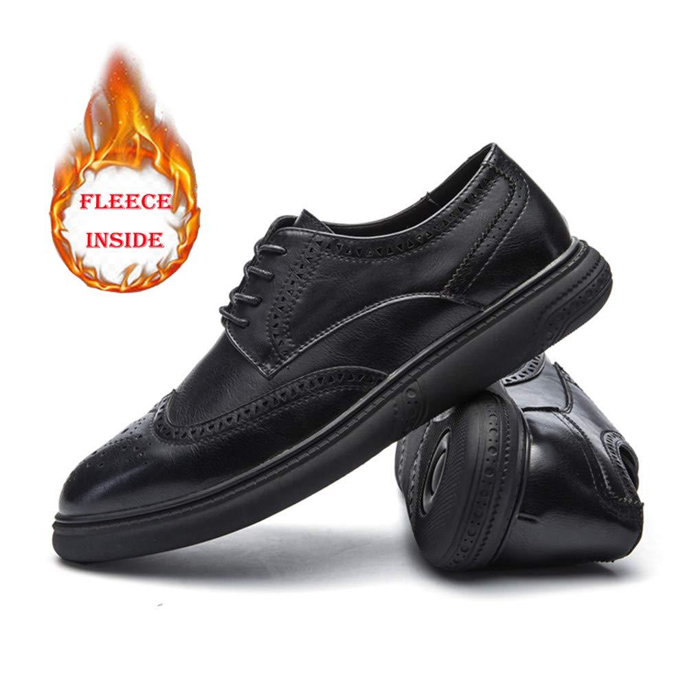 4659fc8b6ede Hilotu Clearance Men's Casual Soft Bottom Regular Cotton Warm Brogue Shoes  Wingtip Comfort Formal Business Oxfords (Color : Warm Black, Size : 9.5 ...