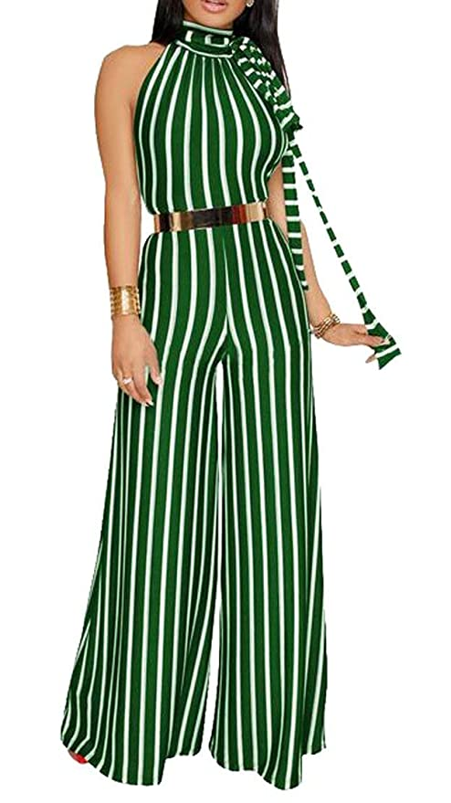 b8954374539 Amazon.com   Clearance Sexy Halter Backless Stripe Belted Wide Leg ...