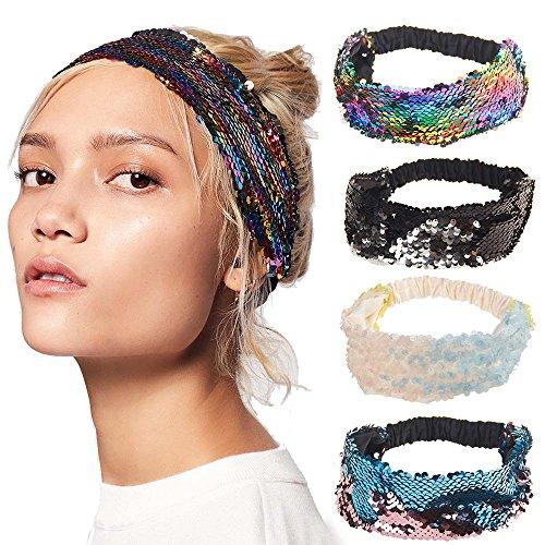 Women Sequin Headbands Mermaid Reversible Sequins Headband Elastic Stretch Sparkly Glitter Fashion Headbands]()
