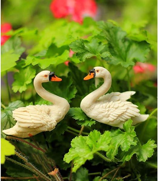 zenggp Adornos De Jardín De Cisne De Micro Resina De 2 Piezas Adorno De Jardín De Resina De Cisnes Amorosos Hermosos: Amazon.es: Hogar