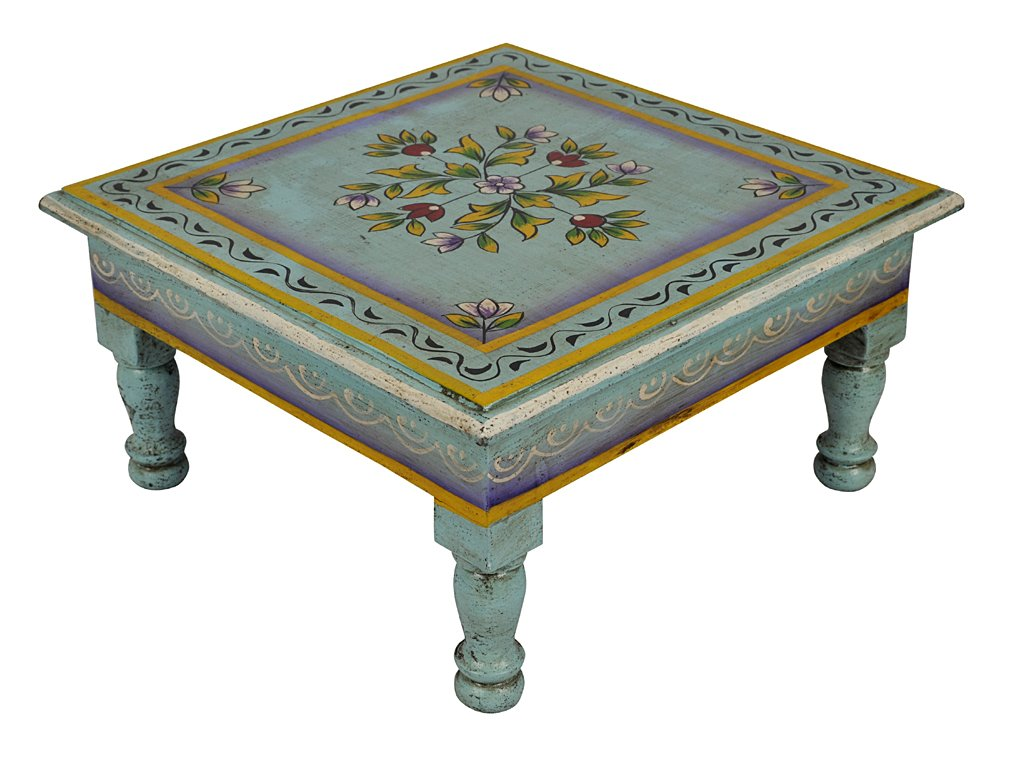 Lal Haveli Hand Painted Work Design Wooden Handcrafted Children Stool Wooden Table 11 X 11 X 5.5 Inch