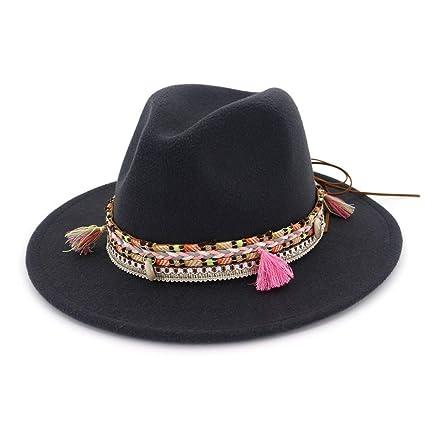 JCH Mujeres Hombre Fedora Lana Algodón Polyster Retro Sombrero Plano para  el Invierno Otoño Elegante Señora e034c6975dd