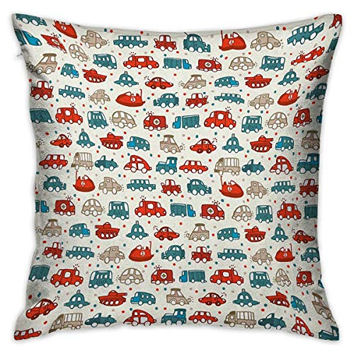 (Cars Square Slip Pillowcase Cheerful Baby Boy Play Things in Kids Doodle Style with Many Different Vehicles Teal Scarlet Tan Cushion Cases Pillowcases for Sofa Bedroom Car W17.7 x L17.7)
