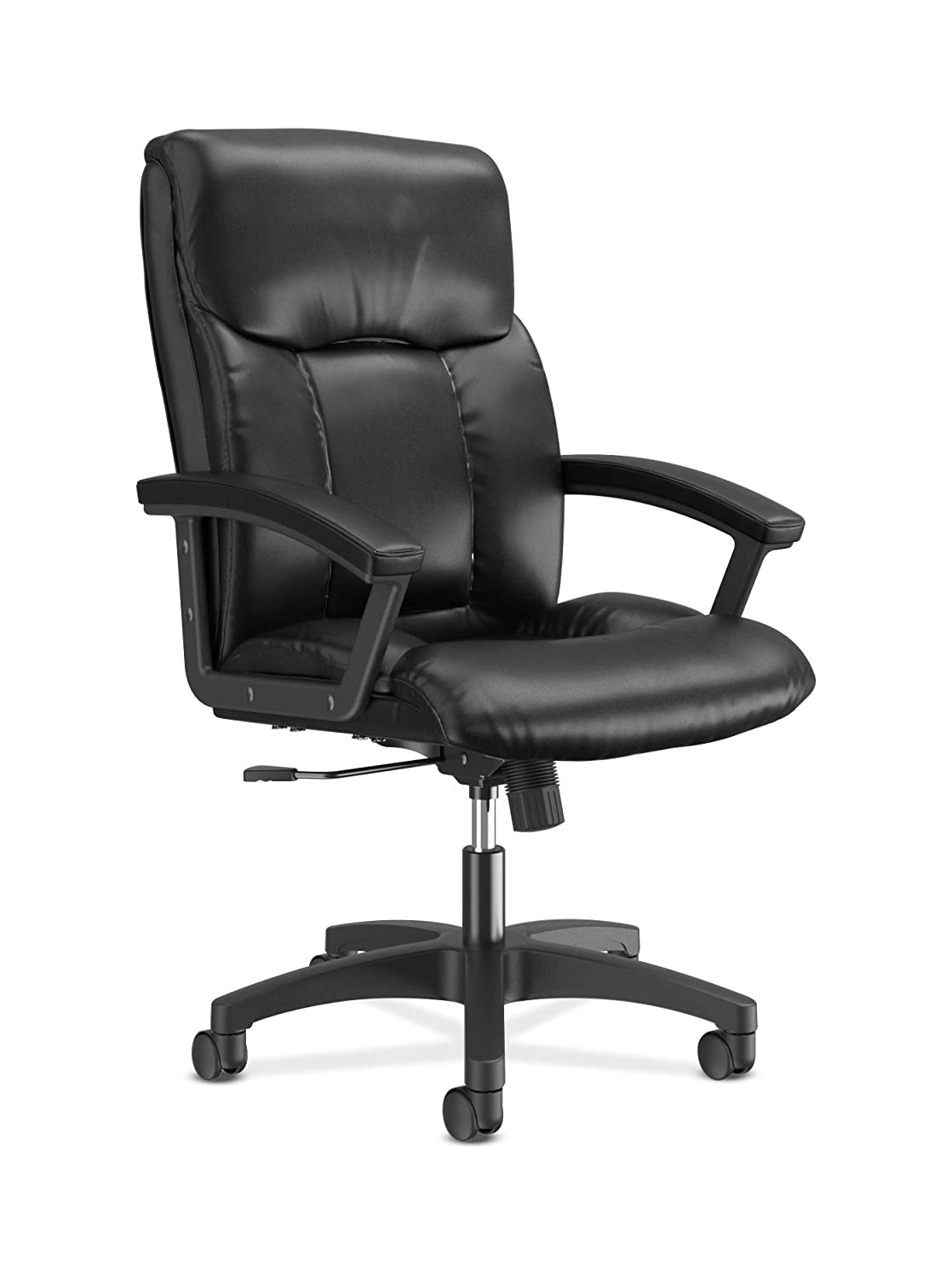 HON HVL151.SB11 Leather Executive Chair - High-Back Computer Chair for Office Desk, Black (VL151)