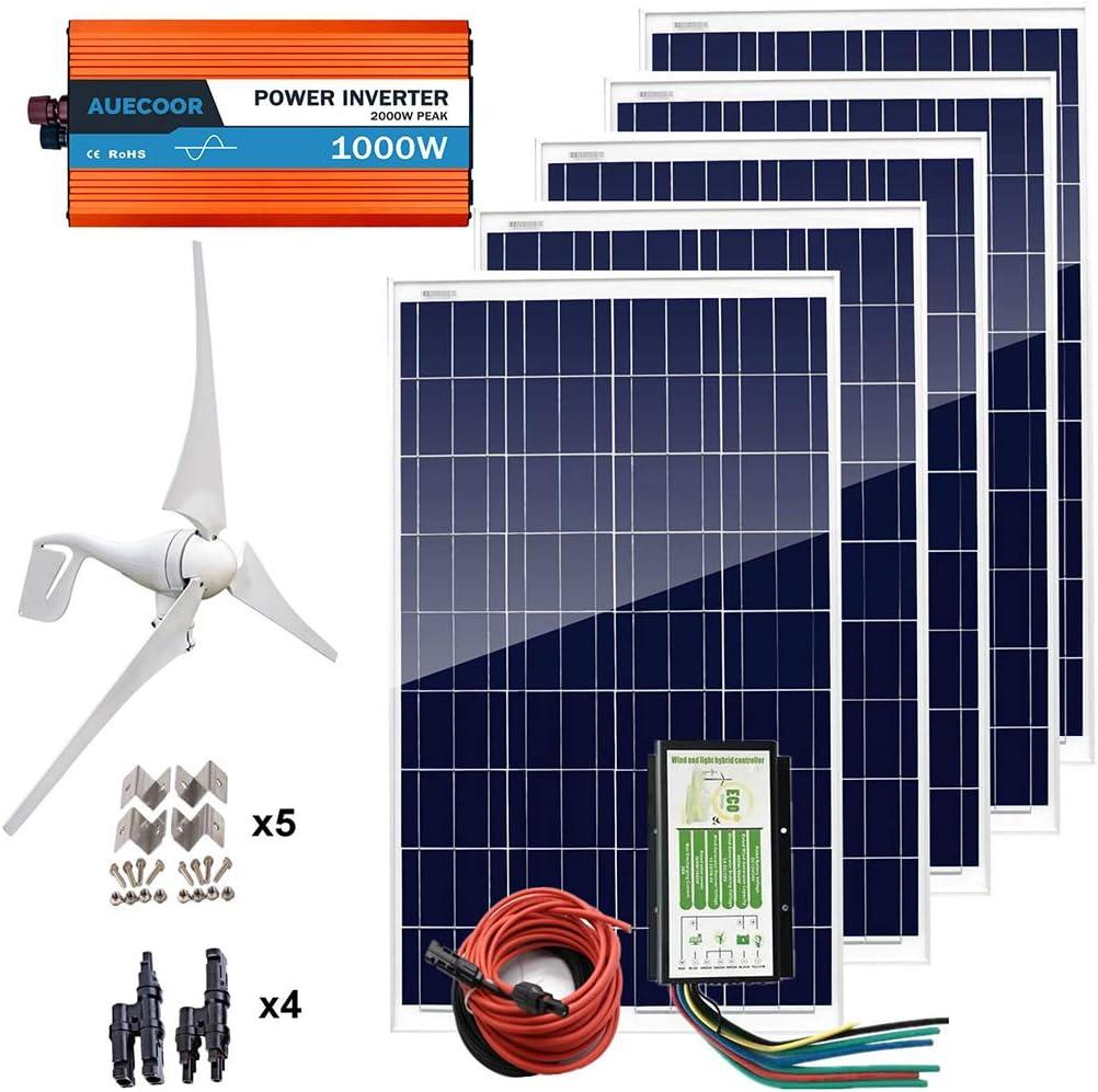 Auecoor 12V 900W Wind Solar Kit : 1Pc 12V/24V 400W Wind Turbine +5Pcs 100W Poly Solar Panels + 1Kw 12V-110V /220V/230V Off Grid Pure Sine Inverter + Cable Connector Rv Boat Home Use