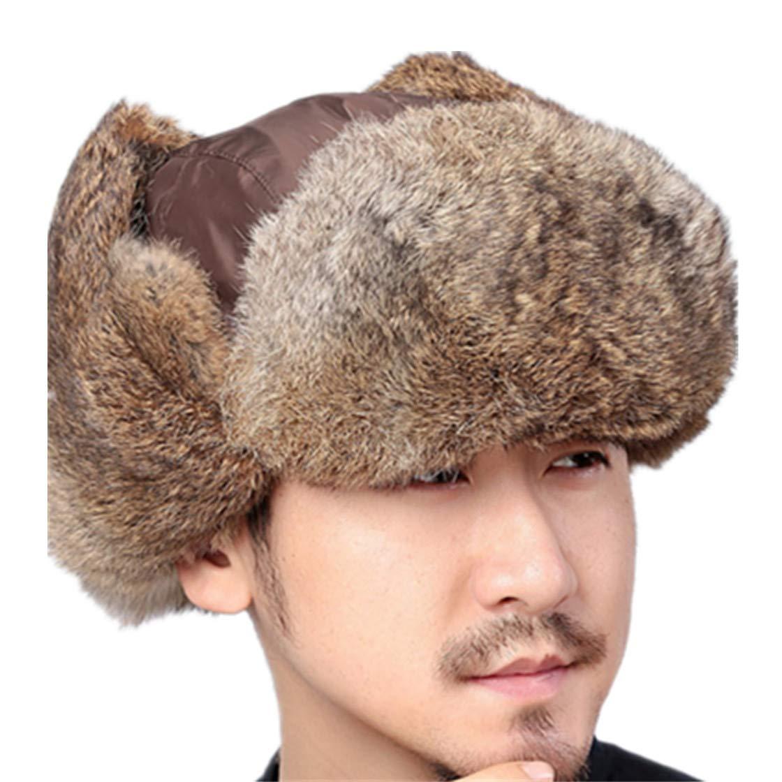 Winter Bomber Hats Rabbit Fur Ushanka Warm Trapper Aviator Hat with Earflaps