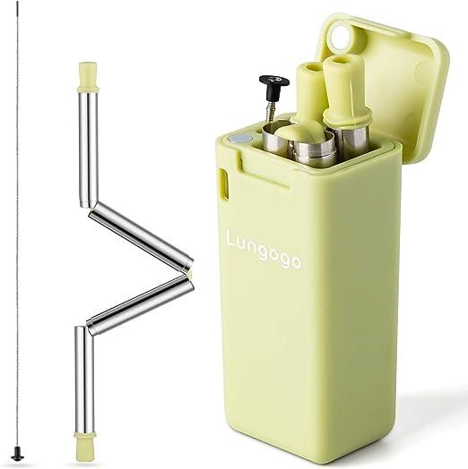 Lungogo Faltbare Strohhalme wiederverwendbar,tragbar Reisen Metall Trinkhalm aus Edelstahl mit Reinigung sbürste und ABS Gehäuse für