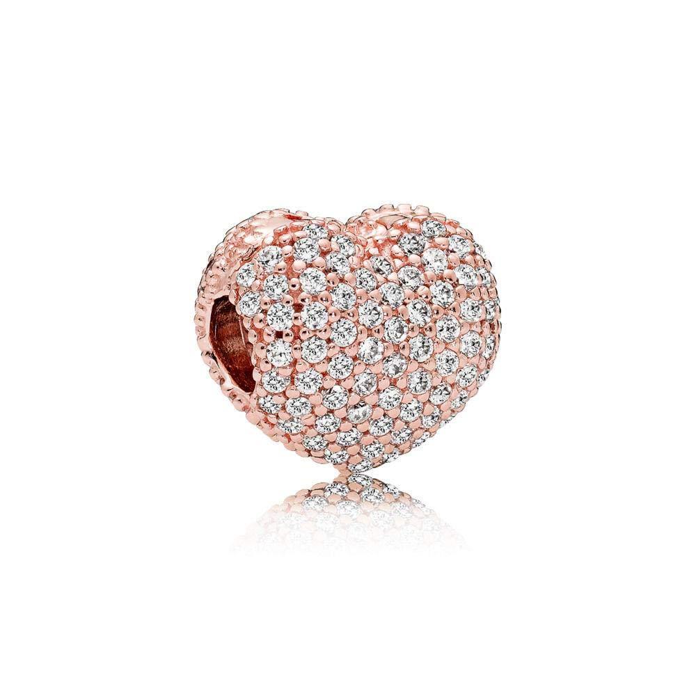 Pandora Pave Open My Heart Rose & Silver Clip Charm 781427CZ