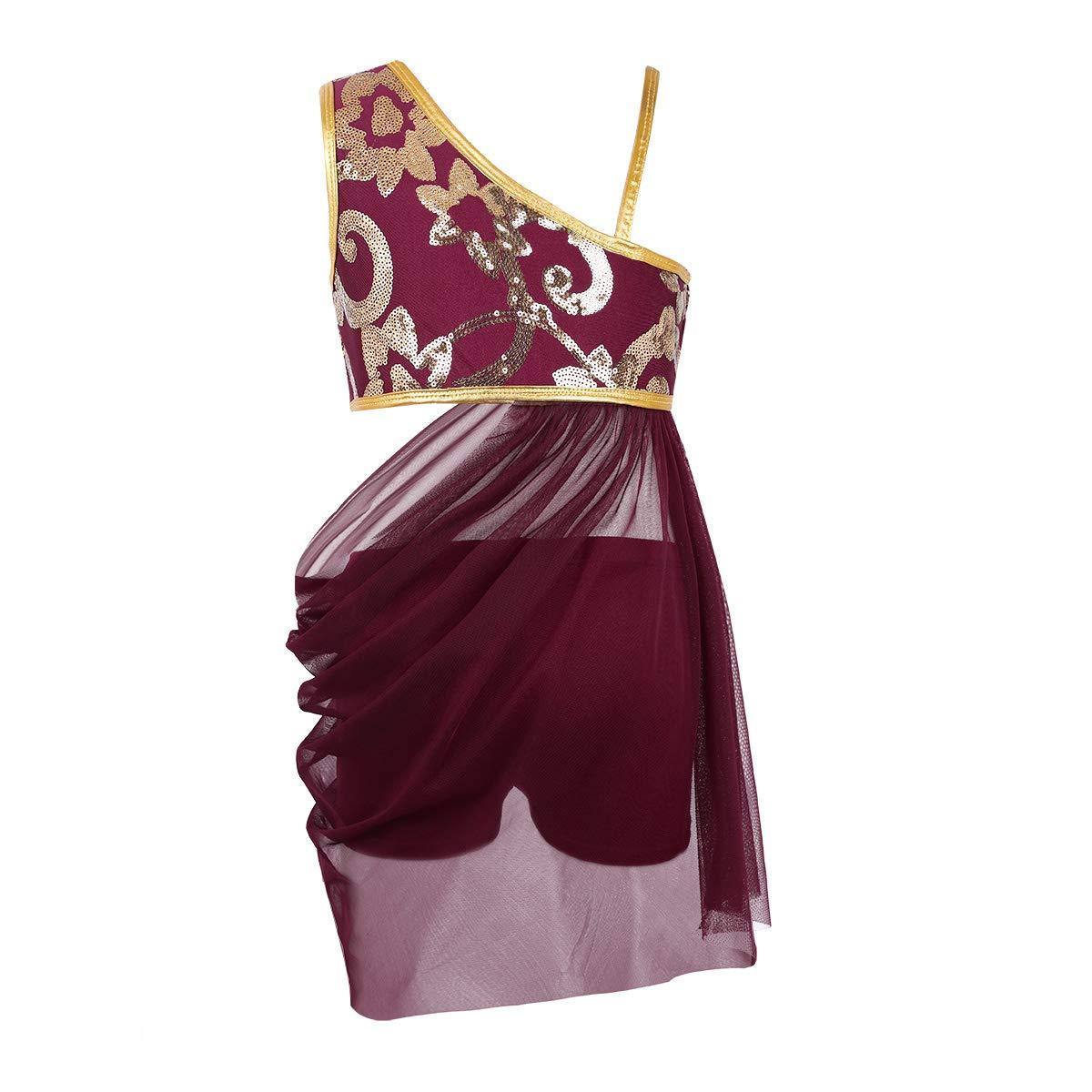 CHICTRY 2PCS Fille Robe Danse Latine Asymétrique Gym Robe Danseuse Rumba Zumba Salsa Classique Sequins Top ET Short Robe de Ballet 6-14 Ans