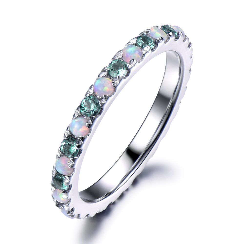 Color Change Alexandrite Opal Wedding Band 925 Sterling Silver Full Eternity White Gold Engagement Ring by Milejewel Wedding Band