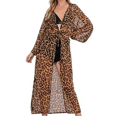 5ee08caef2a09 Women's Kimono Leopard Print Maxi Longline Beach Kimono Brown:  Amazon.co.uk: Clothing
