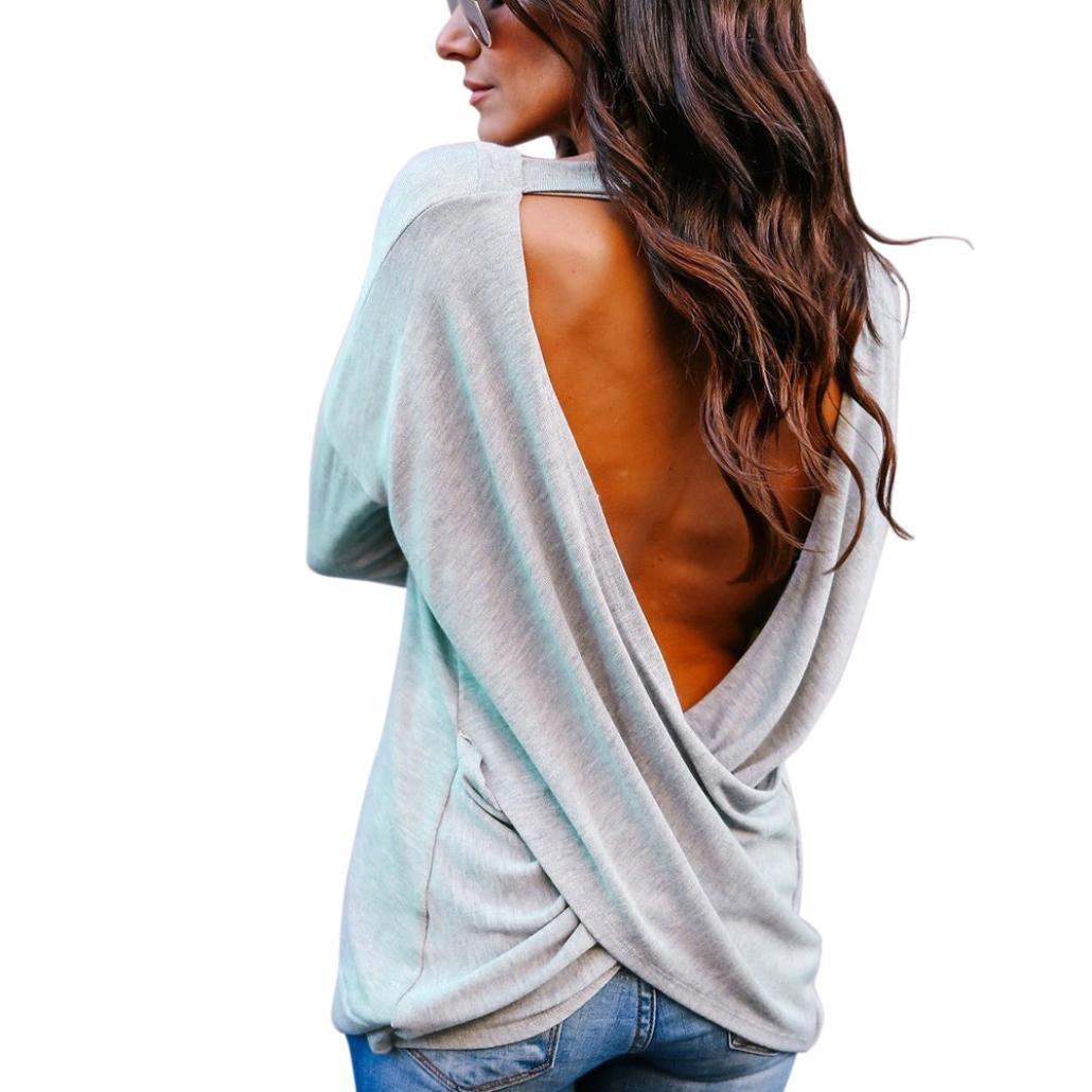 Sweatshirt Damen VENMO Frauen Elegant Rückenfreie Bluse Langarmshirts Pullover Sweater Pulli T-Shirt Oberteile Sexy Tops Crop Solid V-Ausschnitt Rückenfreie T-Shirt Bluse Solid Tops