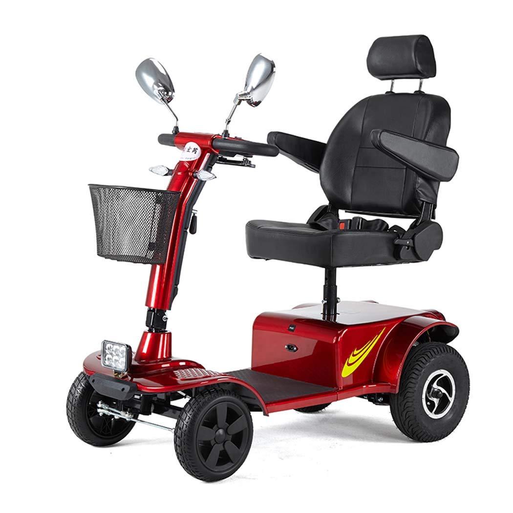 古いスクーター、カーボンスチール四輪電気自動車、高齢者は自転車を運転するために出かける