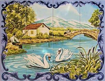 Azul Decor35 Carrelage Mural Fresque Murale Peinte Sur Faience