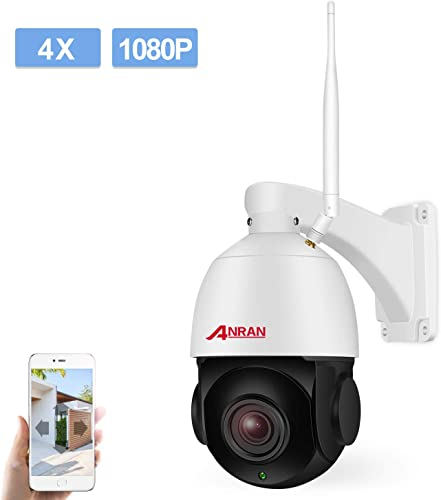 PTZ Wireless WiFi Security IP Camera 1080P HD Pan Tilt 4XOptical Zoom Auto Focus Home Surveillance Dome Weatherproof in Outdoor Camera with 32GB Micro SD Card,Two-Way Audio,Support 2.4GHZ WiFi ANRAN