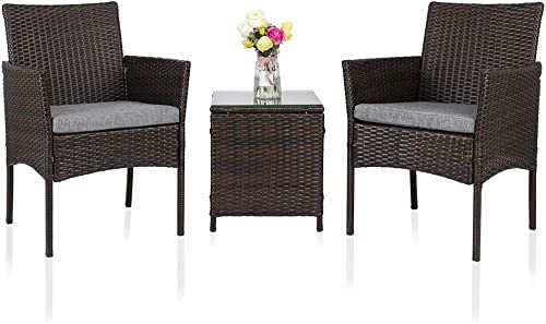 Oshion Patio Porch Furniture Set of 3 PES Rattan Wicker Chairs