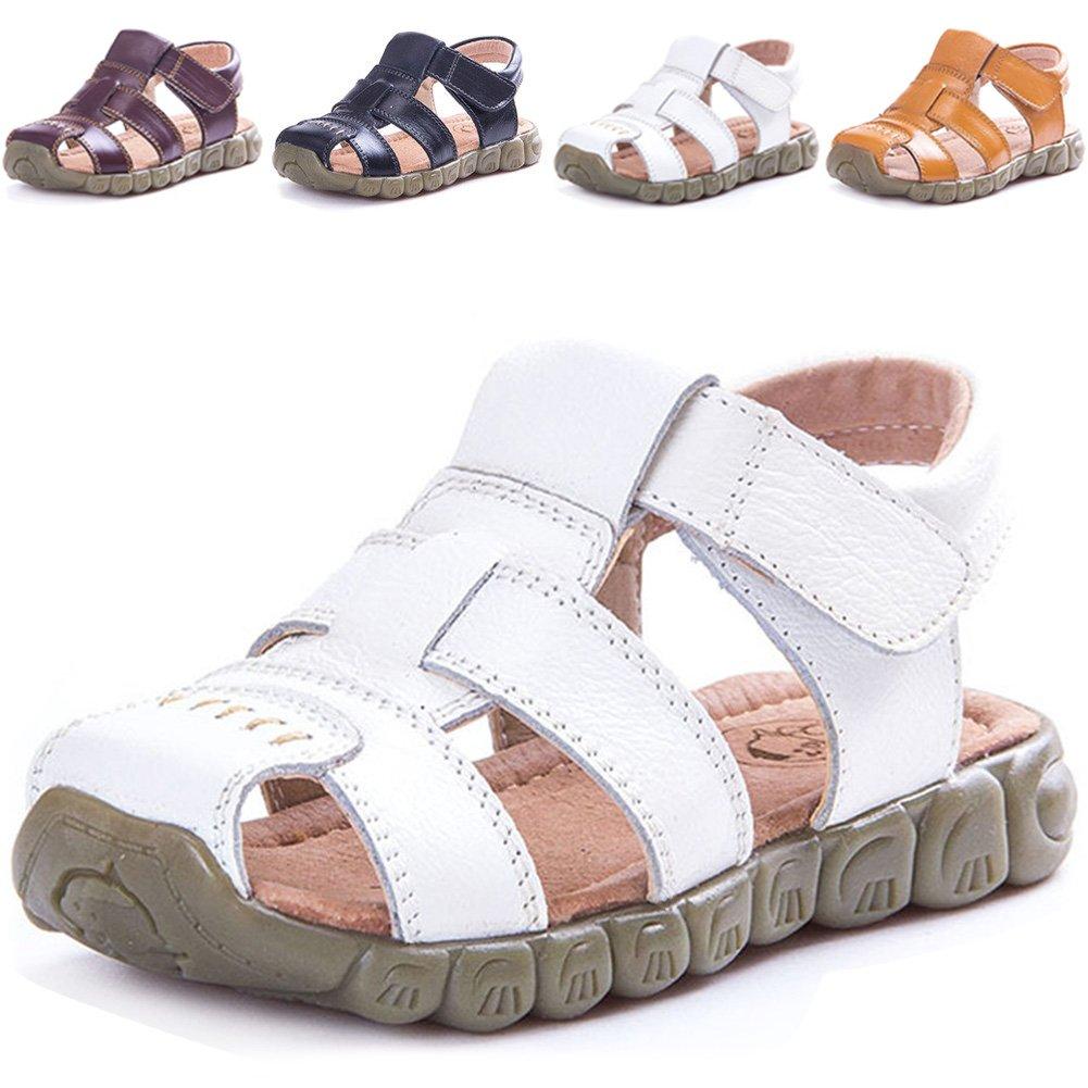LONSOEN Leather Outdoor Sport Sandals,Fisherman Sandals for Boys(Toddler/Little Kids),White,KSD001 CN21