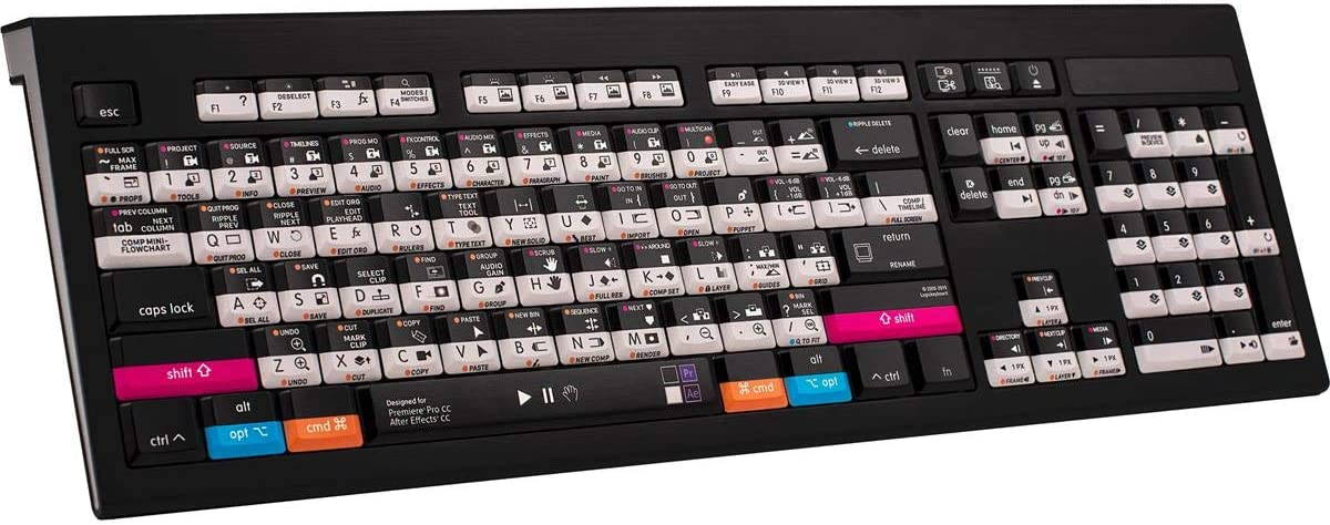 Logickeyboard Astra Mac Wired Backlit Keyboard for Adobe Premiere Pro/After Effects Software, 104 Keys (ANSI), 105 Keys (ISO), US English