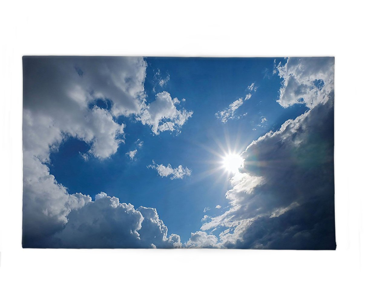 Interestlee Fleece Throw Blanket Apartment Decor Clear Weather Sky Sun On Sky With Clouds Solar Of Clean Energy Power Artwork Gray Blue