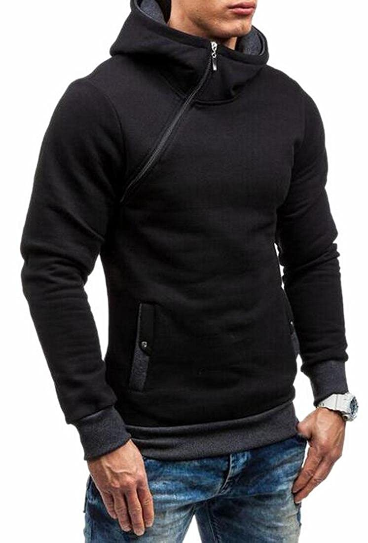 Generic Men's Stylish Oblique Full Zip Hoodie Coat Sweatshirt Pullover Outwear