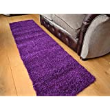 Shaggy Thick Modern Luxurious Purple Rug High Pile Long Pile Soft Pile Anti Shedding Available in 9 Sizes (66cm x 230cm 2ft 2 x 7ft 6 (runner)) by SuperRugStore