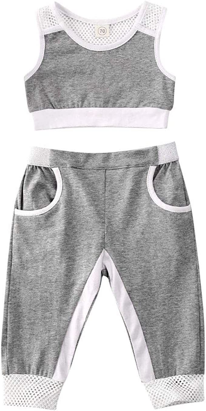 US Baby Girl Tracksuit 2PCS Toddler Kid Outfits Clothes Mesh Top Pants Trousers