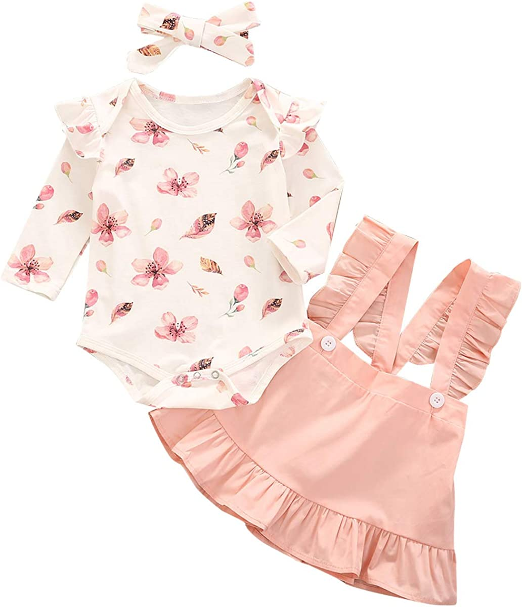 Infant Baby Girls Short Long Sleeve Sleeveless Floral Dress Toddler Kids Skirt Summer Fall Solid Color Outfit