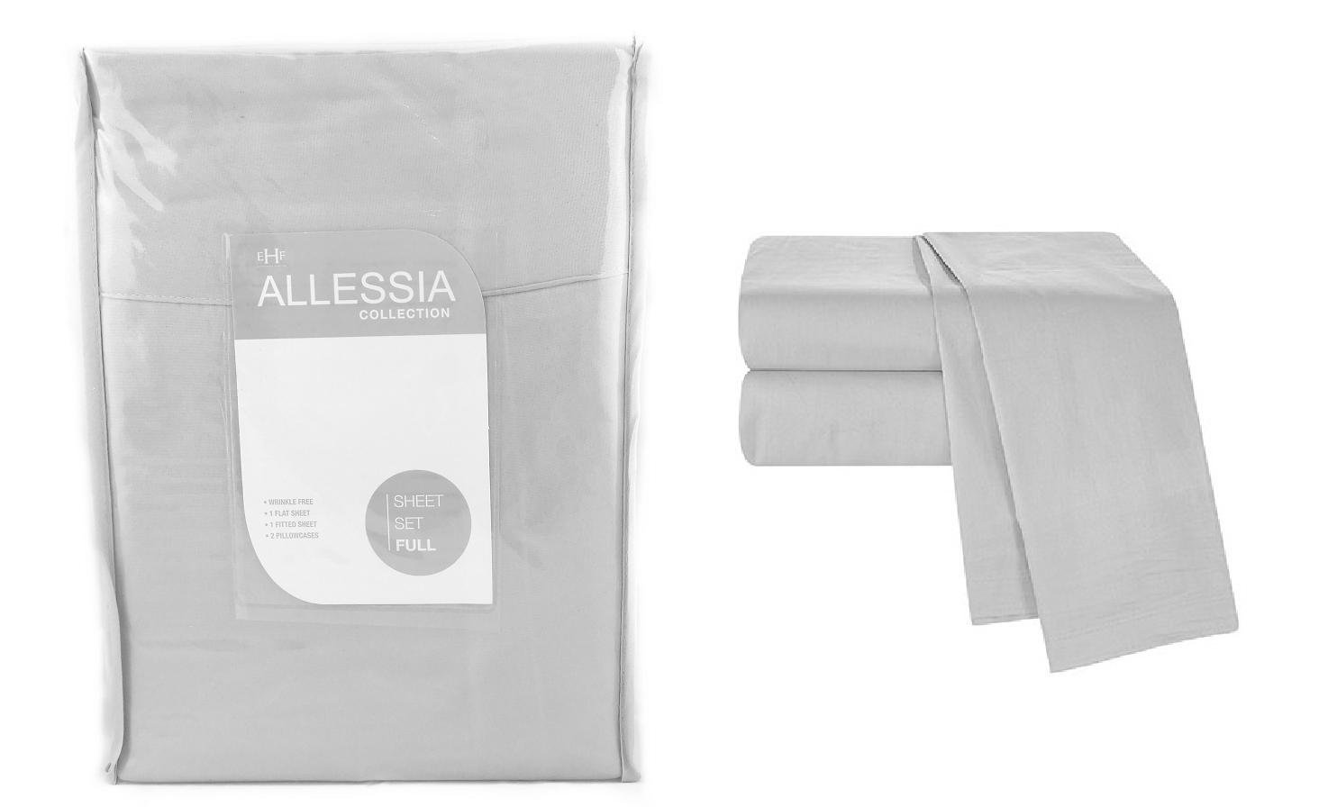 Allesia Collection Grey Full Size Sheet Set Back To School College Dorm