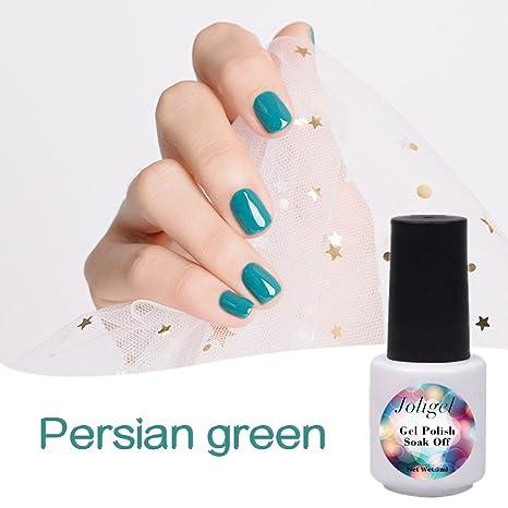 Esmaltes Permanentes para Uñas, Joligel Esmalte Gel Semipermanente Verde Persa para Manicura Pedicura UV LED