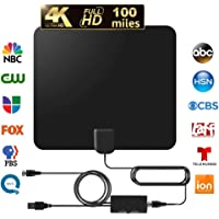 Kastewill Amplified HD Digital TV Indoor Antenna Support 4K 1080P with Adjustable Amplifier Signal Booster 60-120 Miles Range