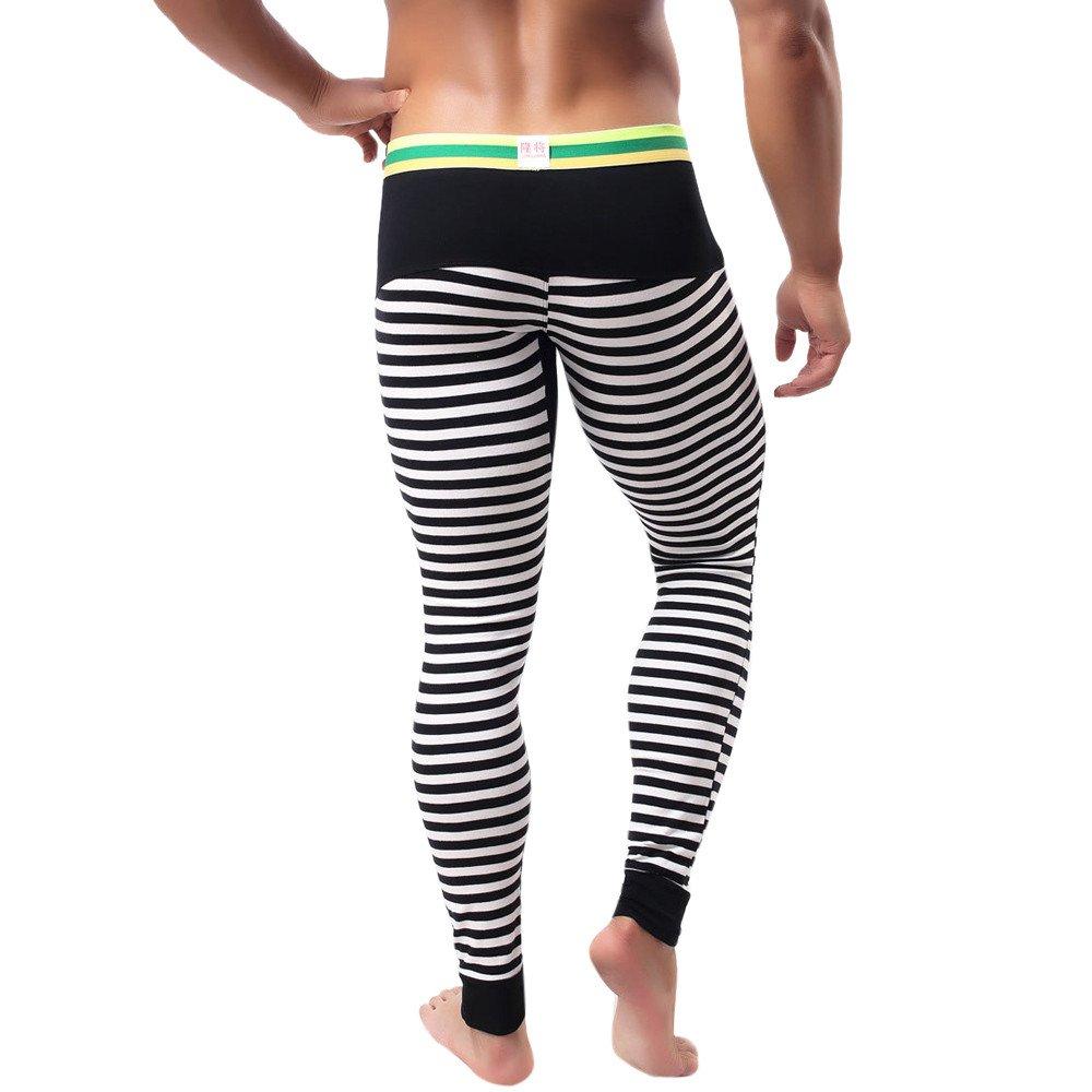 Cargo/&Chinos Mens Striped Breathe Low Rise Leggings Long Johns Thermal Pant