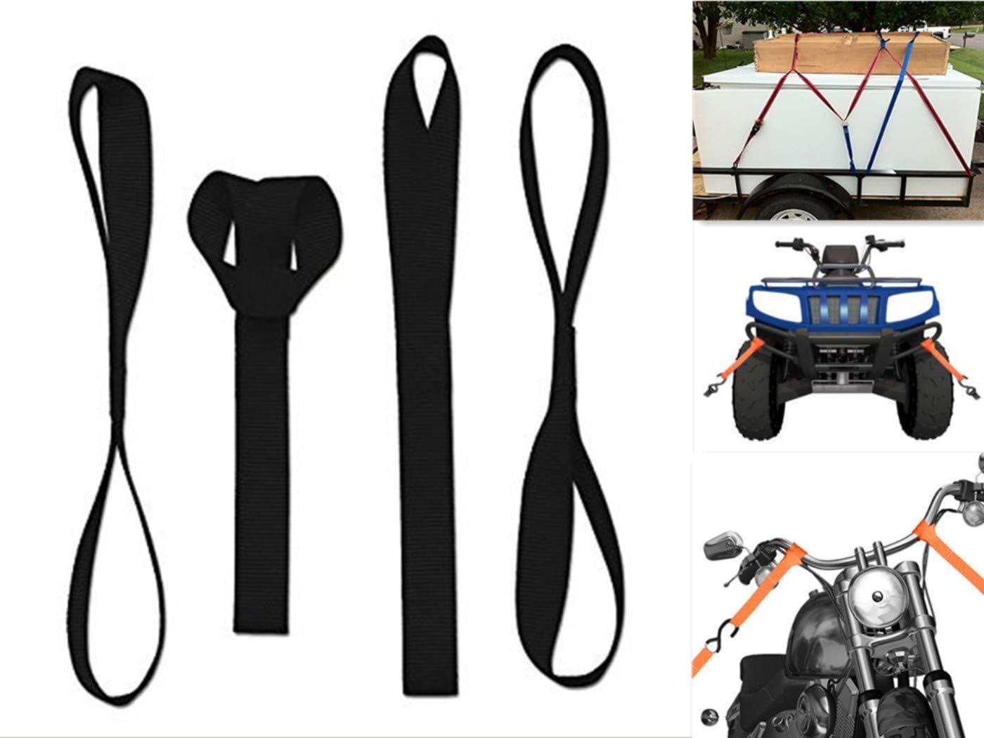 10000 lb Load Capacity Vehiclex Soft Loop Motorcycle Tie Down Straps 1.5 x 18 inches Lawn Equipment Secure Trailering of Bikes ATV UTV Black 4 Pack Tie-Down Loops in Storage Bag