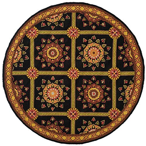 Safavieh Easy to Care Collection EZC711C Hand-Hooked Black and Yellow Round Area Rug (6' Diameter)