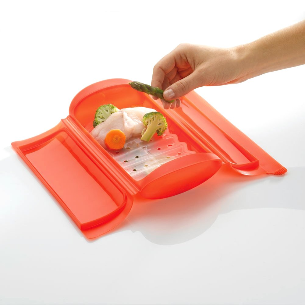 Wuudi Mikrowellen-Dampfgarer Silikon Thermostabil Heizung Lunchbox groß faltbar Salatrührbox grün