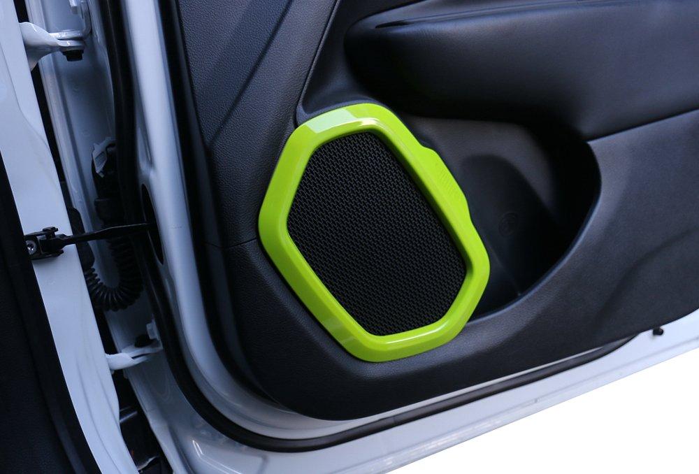 4pcs ABS Interior Car Door Sound Speaker Audio Ring Cover Frame Trim for Jeep Renegade 2015-2017 Carbon Fiber Grain