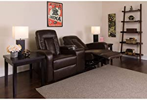Flash Furniture Eclipse Series 2-Seat Reclining Brown LeatherSoft Theater Seating Unit with Cup Holders